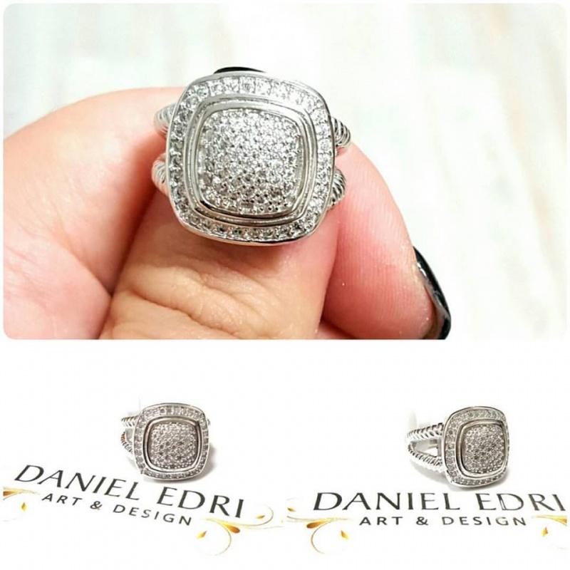 טבעת ריבוע משובץ- כסף
