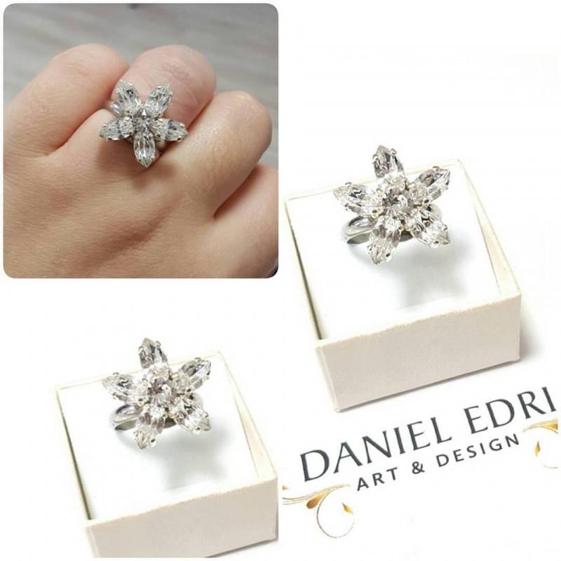 טבעת פרח קריסטלים