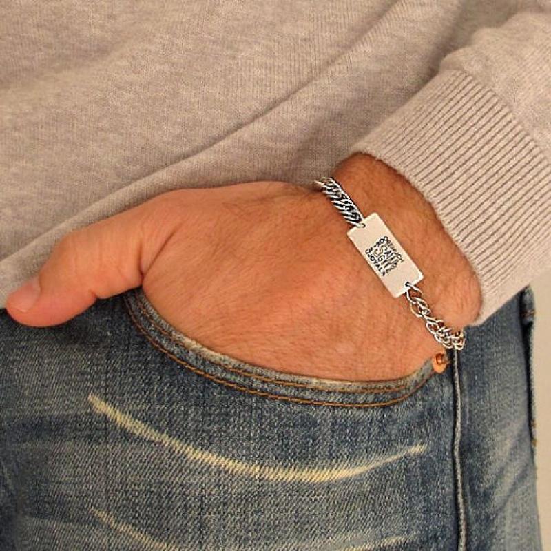 צמיד גורמט עם חריטה אישית - מתנה לחבר - תכשיטים לגברים - צמיד חוליות לגבר
