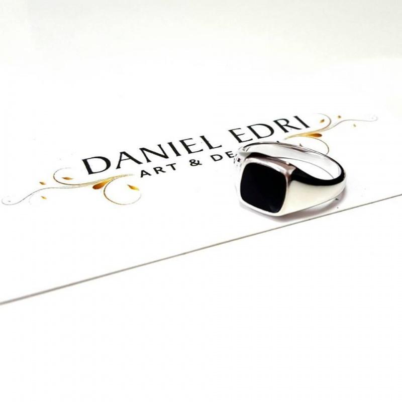 טבעת חותם שחורה - כסף