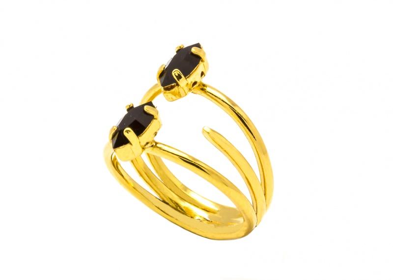 טבעת נינה שיניים - זהב שחור