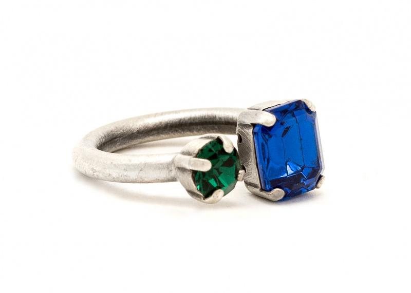 טבעת סנדי כסף - כחול ירוק