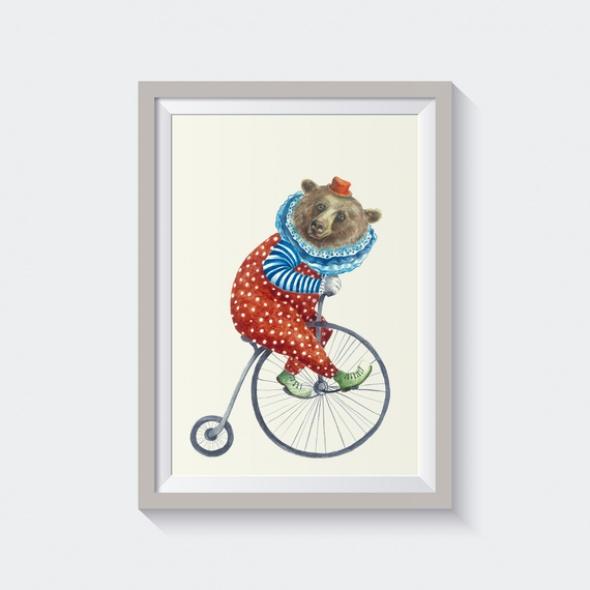 גלויה דובי על אופניים
