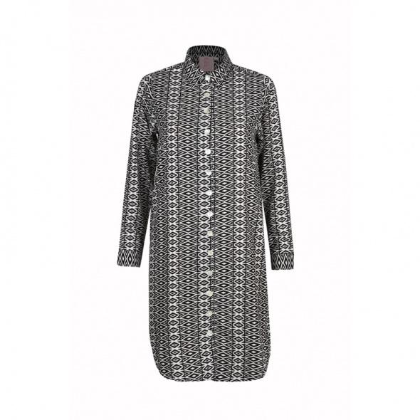 שמלה מכופתרת גיאומטרי שחור לבן