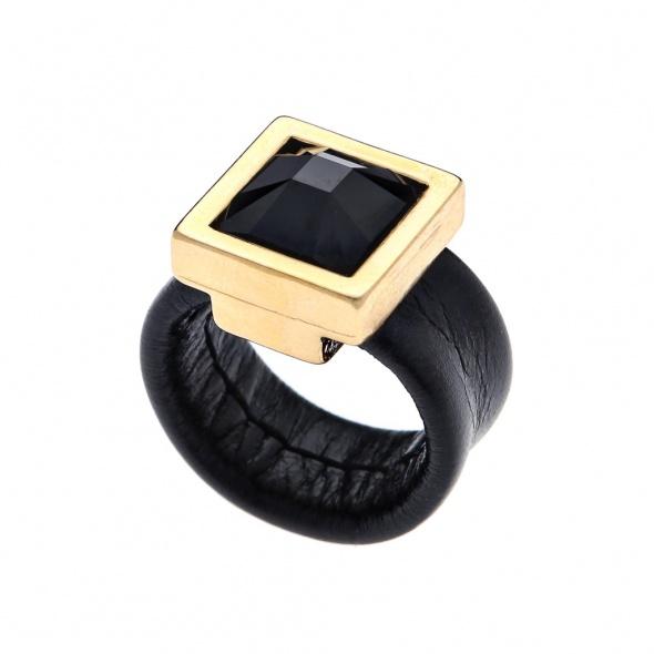 טבעת קוקטייל מרובעת זהב