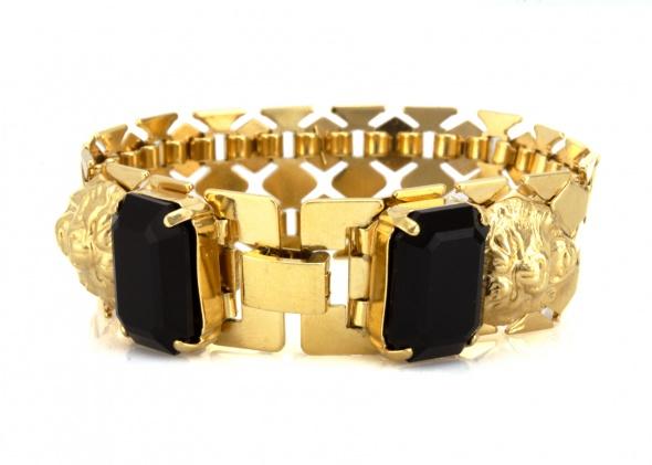 צמיד רשת UNISEX זהב - אבן שחורה