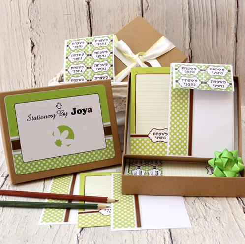 מארז כרטיסי ברכה - דגם פרחוני ירוק