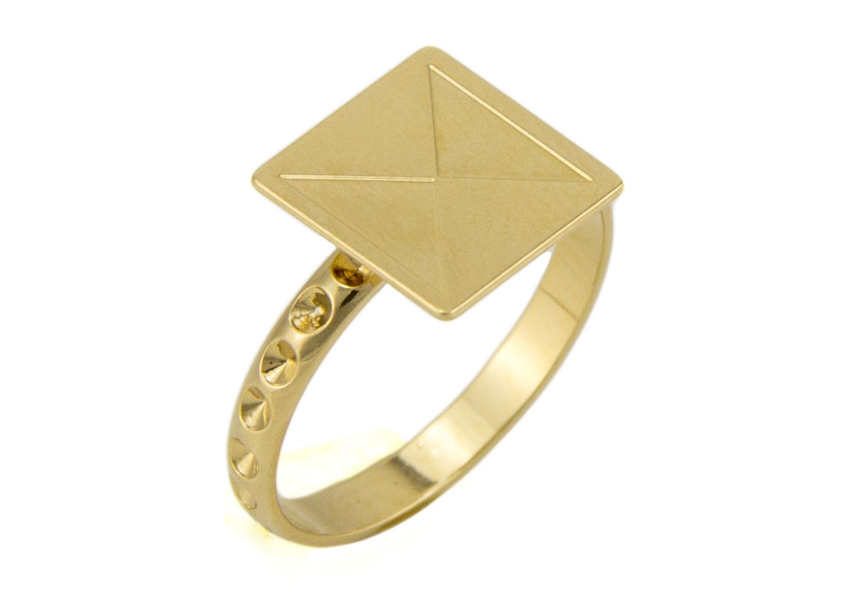טבעת ריבוע זהב מבריק