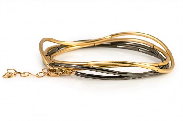 שרשרת גלים מעורבת זהב שחור