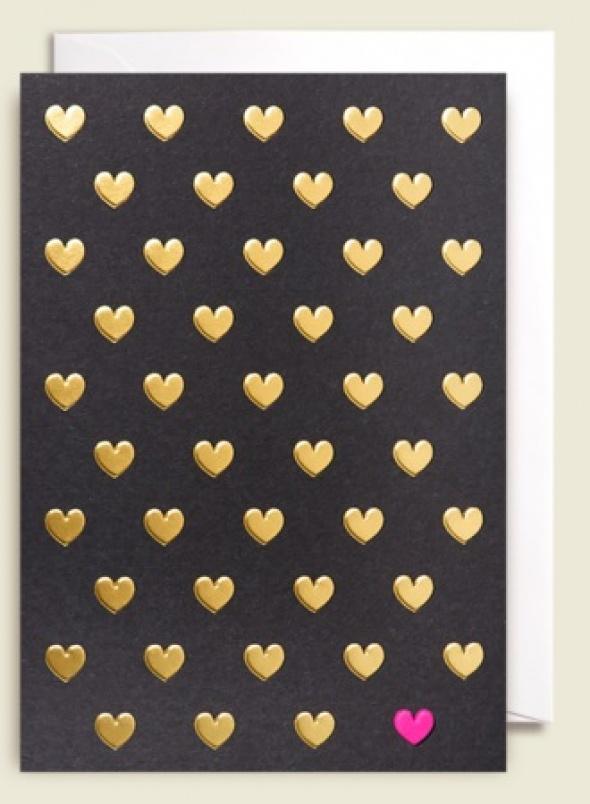 כרטיס ברכה לבבות זהב