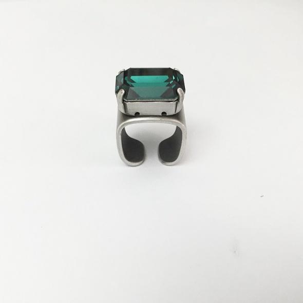 טבעת מישל כסף - ירוק