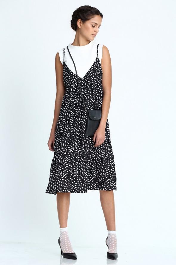 שמלת מידי אוברסייז וולן הדפס שחור-לבן
