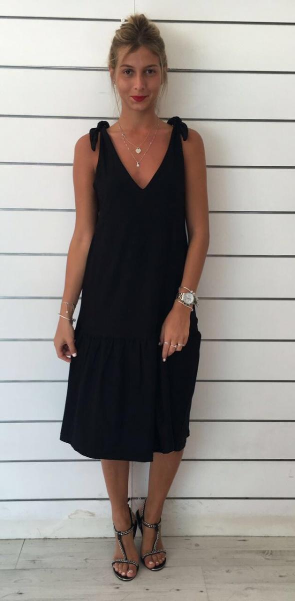 שמלה קשירה כתף שחורה