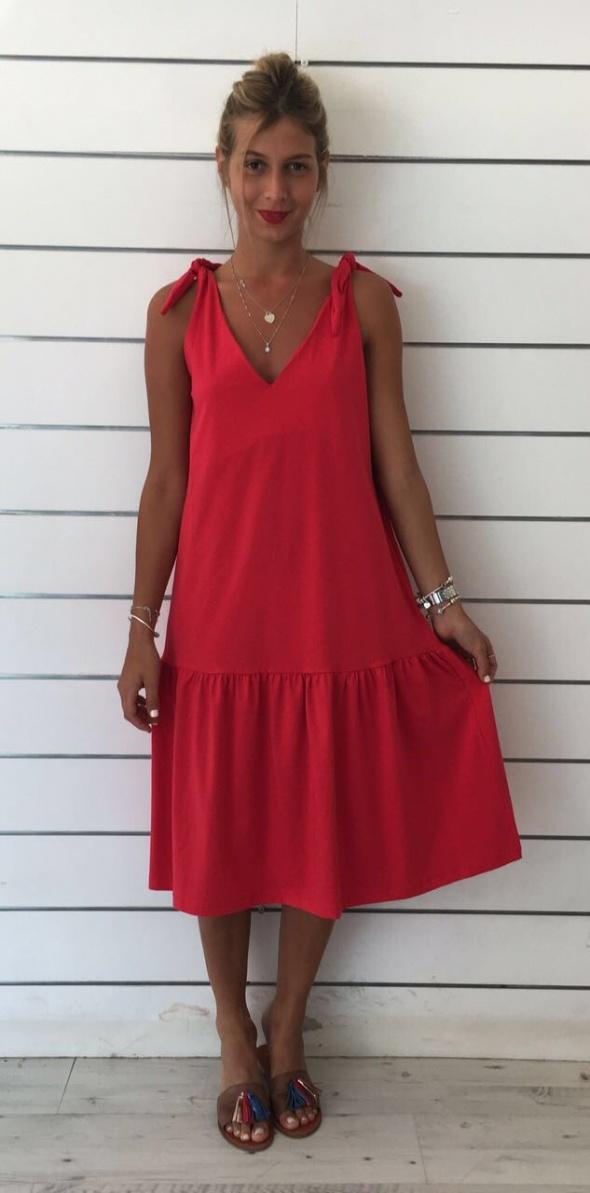 שמלת קשירה בכתף אדומה