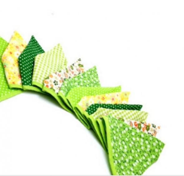 שרשרת דגלי בד ירוק צהוב לבן