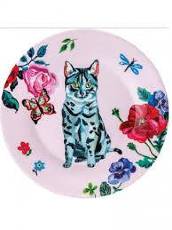 צלחת עם הדפס חתול רקע ורוד