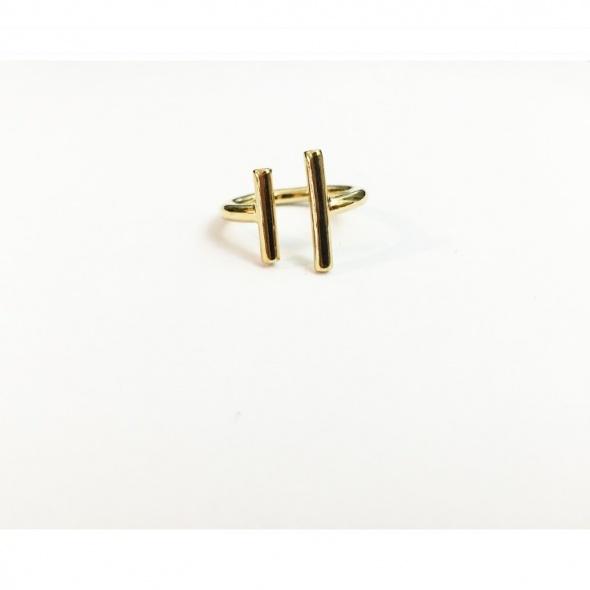 טבעת פסים כפולה זהב