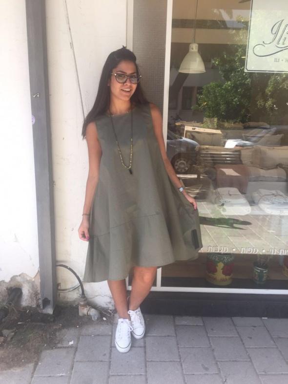 שמלת A מידי ירוק זית