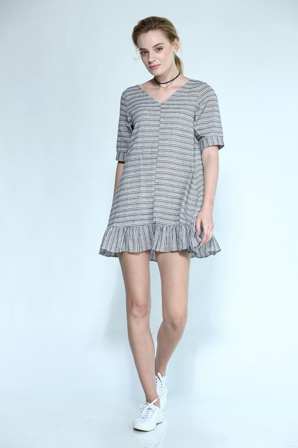 שמלת פסים וולן שרוול קצר