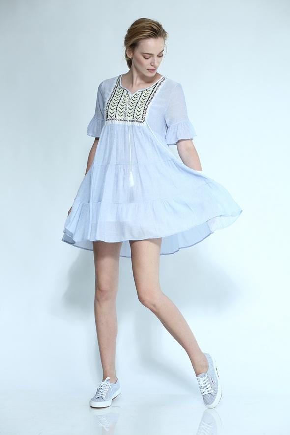 שמלת וולן בוהו אוברסייז רקמה