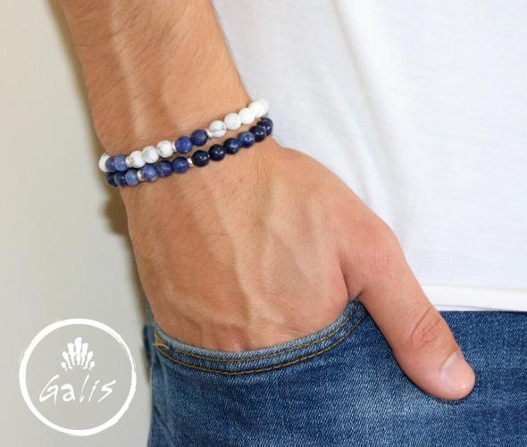 סט צמידי אבנים כחול לבן