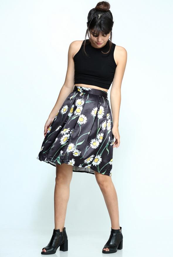 חצאית בלון הדפס חמניות