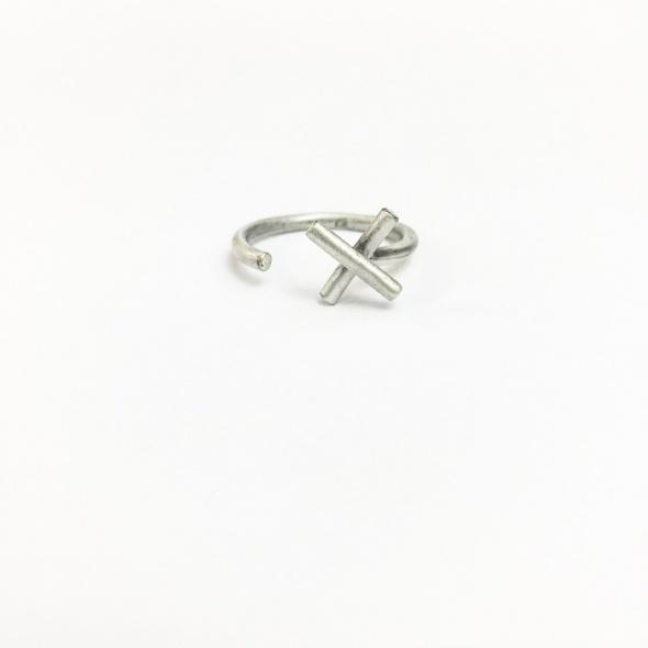טבעת X פתוחה כסף