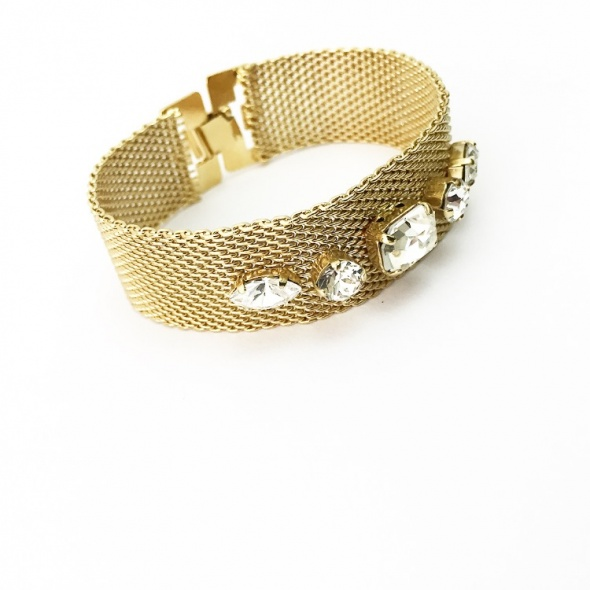 צמיד רשת אבנים כלות זהב