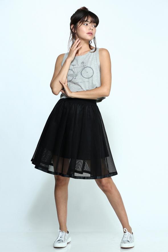 חצאית מידי רשת שחורה