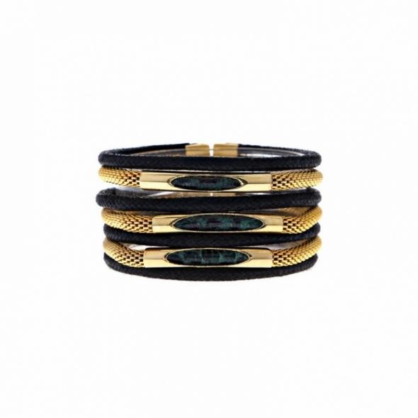 צמיד חבלים זהב אפור