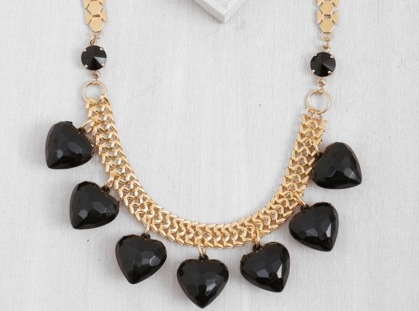 שרשרת לבבות שחורים - זהב