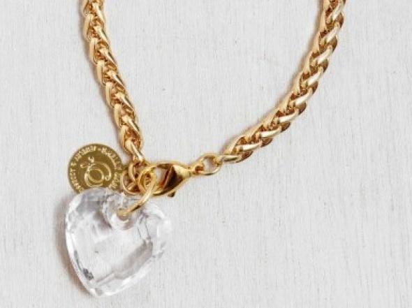 צמיד אהבה לב שקוף זהב