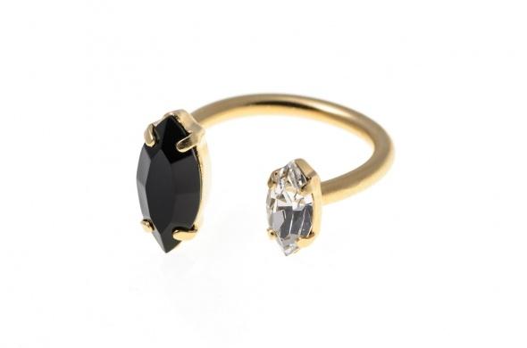 טבעת מרקיזה פתוחה זהב שחור