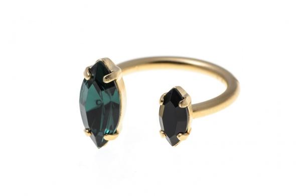טבעת מרקיזה פתוחה זהב ירוק