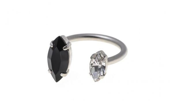 טבעת מרקיזה פתוחה כסף שחור