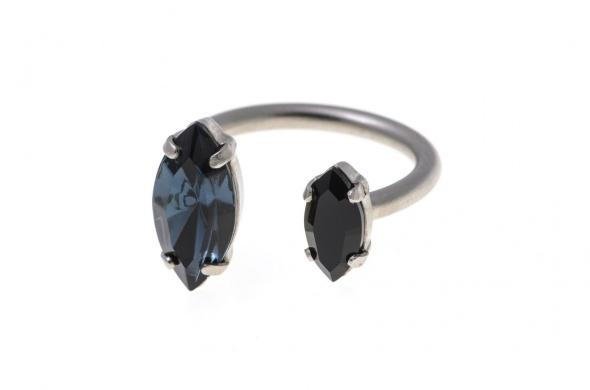 טבעת מרקיזה פתוחה כסף כחול