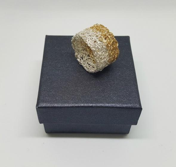 טבעת סרוגה כסף וגולדפילד