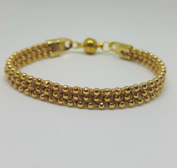צמיד שרשרת כדורים זהב