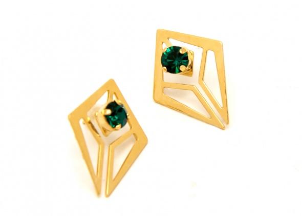עגילי קלי זהב אבן ירוקה