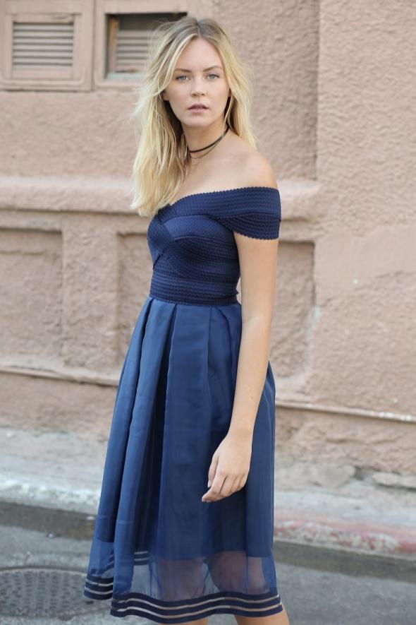 שמלת מידי בלרינה כתפיים חשופות שקיפויות