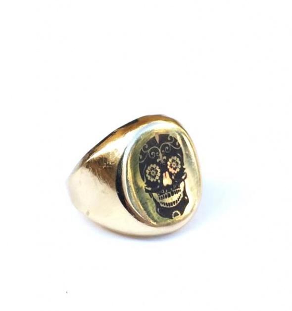 טבעת גולגולת זהב 2 מיקרון