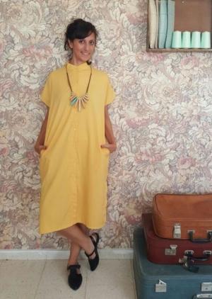 שמלת סאן צהובה