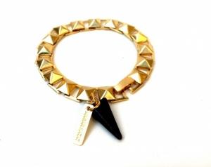 צמיד ניטינג זהב אבן שחורה