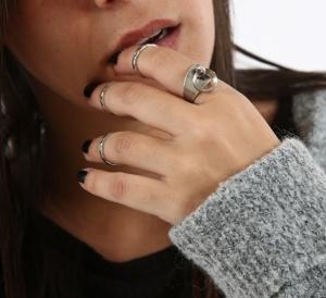 סט טבעת חישוק ו3 טבעות אמצע