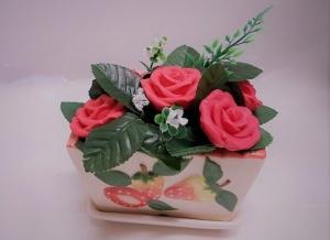אדנית פרחי סבון מקרמיקה - 5 פרחים