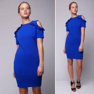 שמלת מיני כתפיים דנטל חשופות כחולה