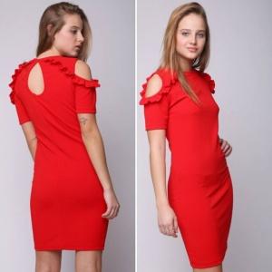 שמלת מיני כתפיים דנטל חשופות אדומה