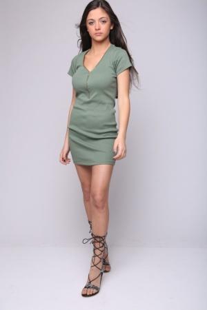 שמלת מיני בייסיק ריצ'רצ' מלפנים ירוק זית