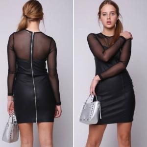 שמלת דמוי עור שחור שילוב טול שקוף