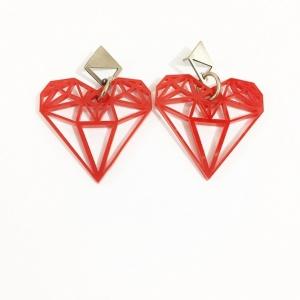 עגילי לב גאומטרי אדום כסף